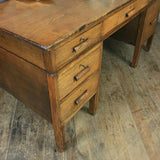 Large Vintage Oak School Teachers Desk