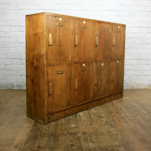 Vintage Industrial Oak School Lockers