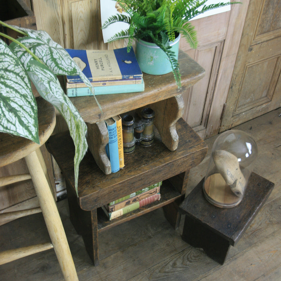 vintage_rustic_primitive_foot_milking_stools_folk_farm