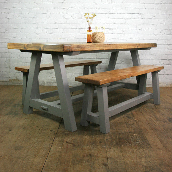 Reclaimed A-frame Rustic Trestle Table & Benches
