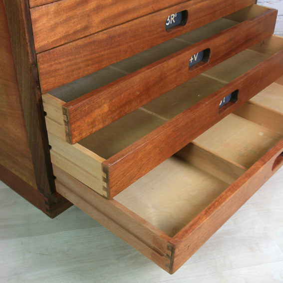 Vintage industrial reclaimed Iroko school plan chest - Restored to order