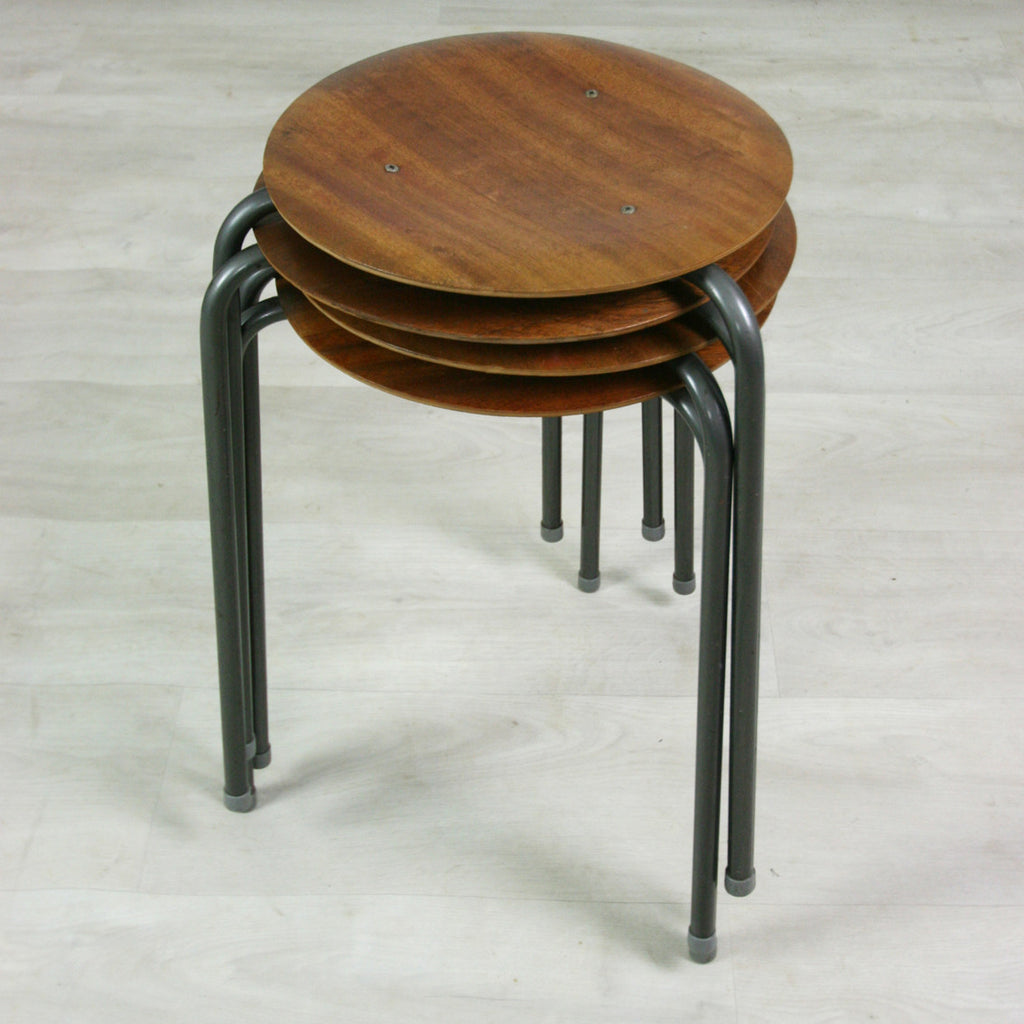 Set of four vintage school teak stacking stools