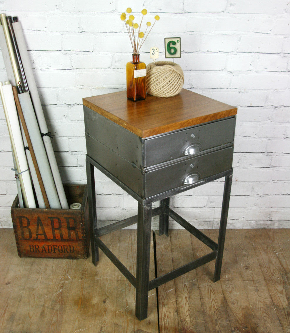 half off d4702 a2f2e Vintage Industrial Steel & Iroko Factory Filing Cabinet