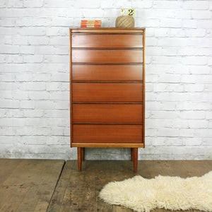 Vintage Rosewood & Teak Tallboy Chest of Drawers