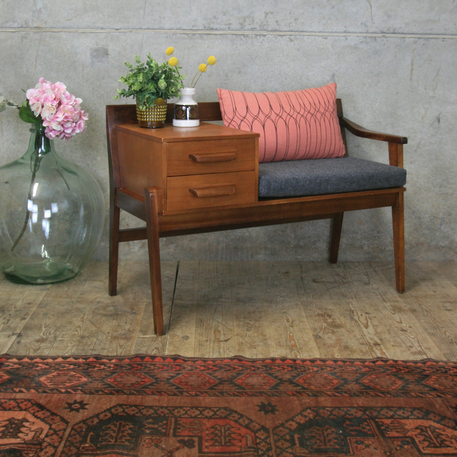 vintage_teak_chippy_heath_telephone_seat_gossip_chair_table_mid_century