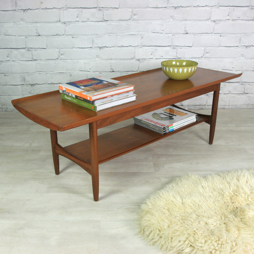 Teak Burger Coffee Table: Vintage 1960s Teak Coffee Table