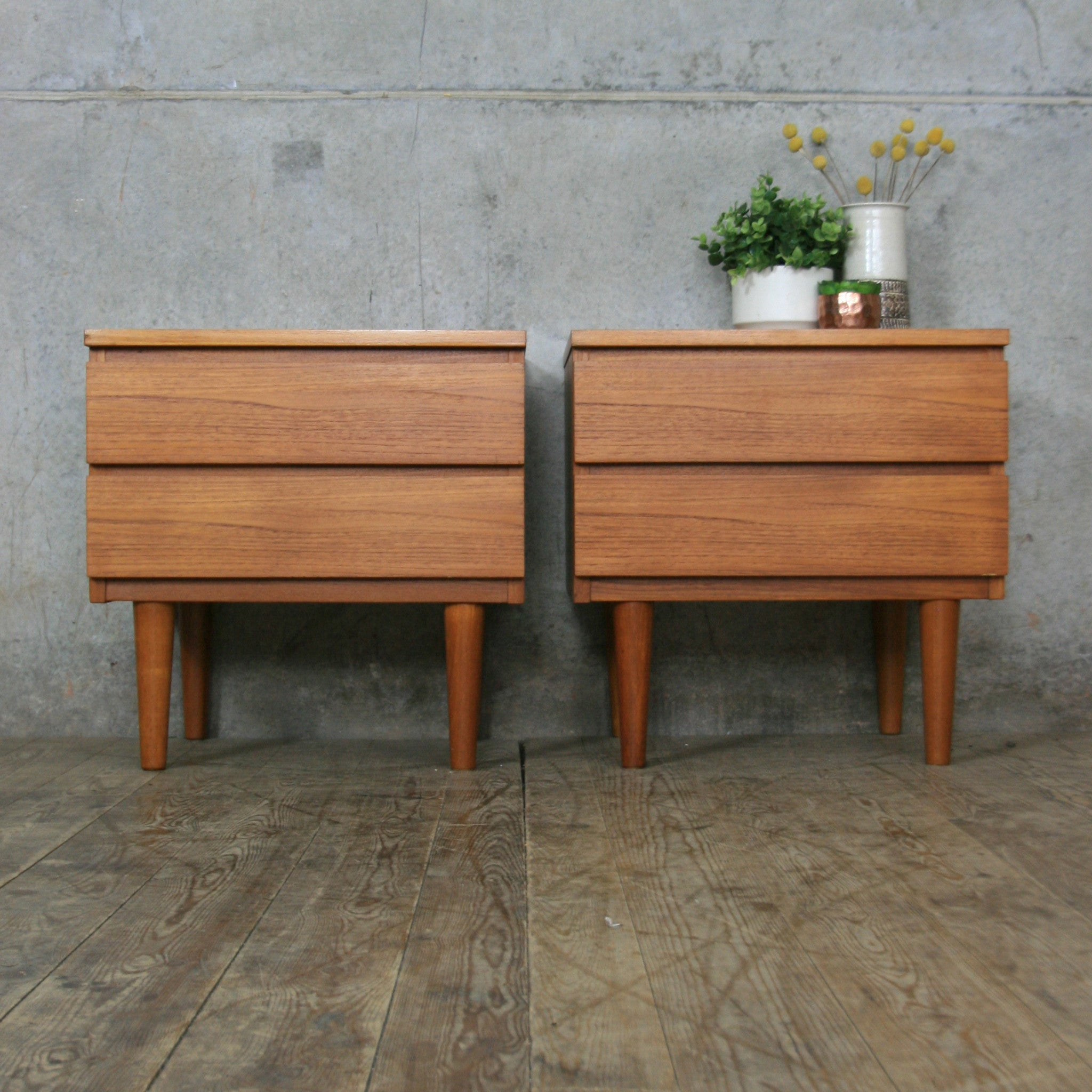 Picture of: Pair Of Mid Century Teak Bedside Cabinets Mustard Vintage