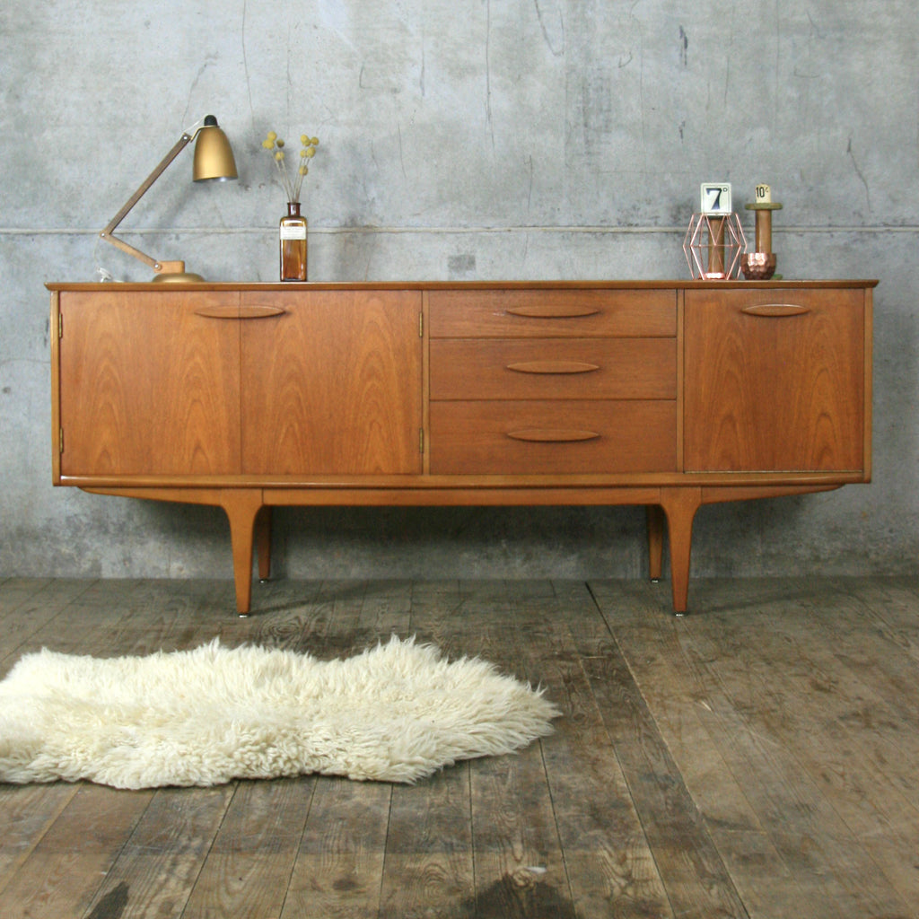 mid century teak jentique sideboard mustard vintage. Black Bedroom Furniture Sets. Home Design Ideas