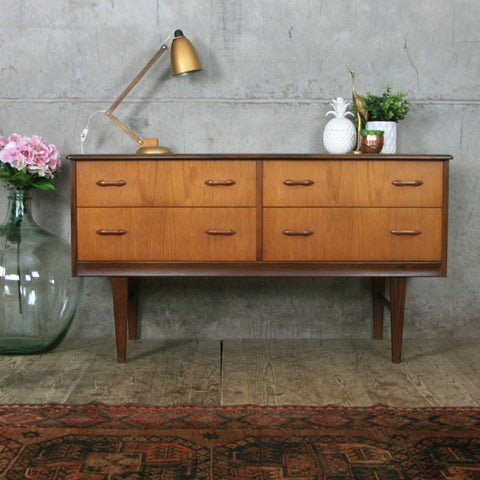 Vintage Teak Lowline Chest of Drawers / Sideboard