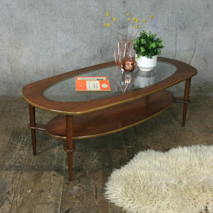 Teak Mid Century Oval Coffee Table