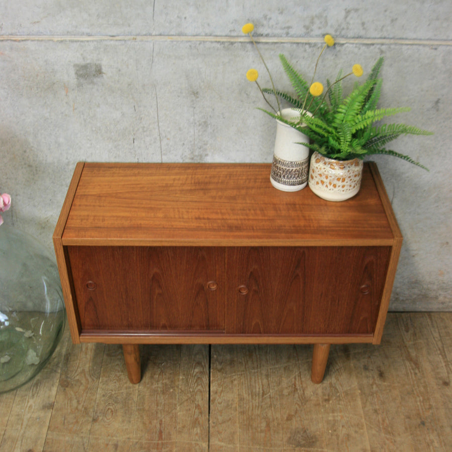 Small Mid Century Danish Teak Media Cabinet #2