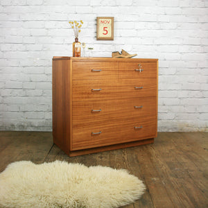 Mid Century Industrial Teak School Chest of Drawers