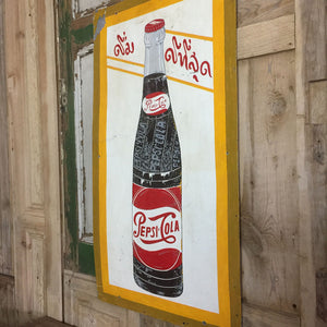 Vintage Hand Painted Tin Pepsi Sign