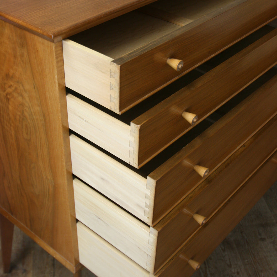 vintage_walnut_alfred_cox_tallboy_chest_of_drawers_mid_century
