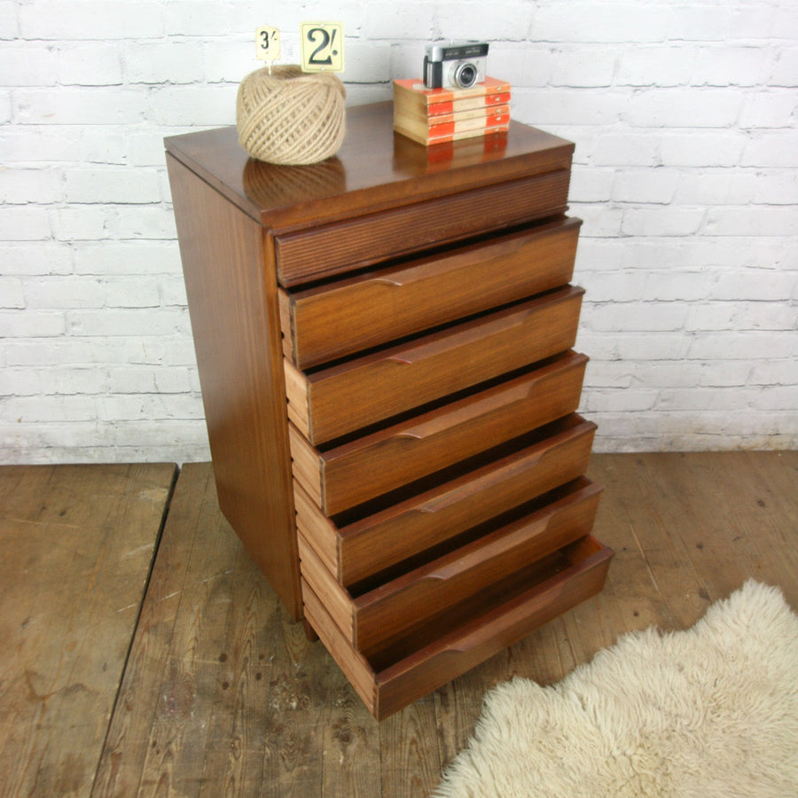 Vintage Mid Century Afromosia Tallboy Chest of Drawers