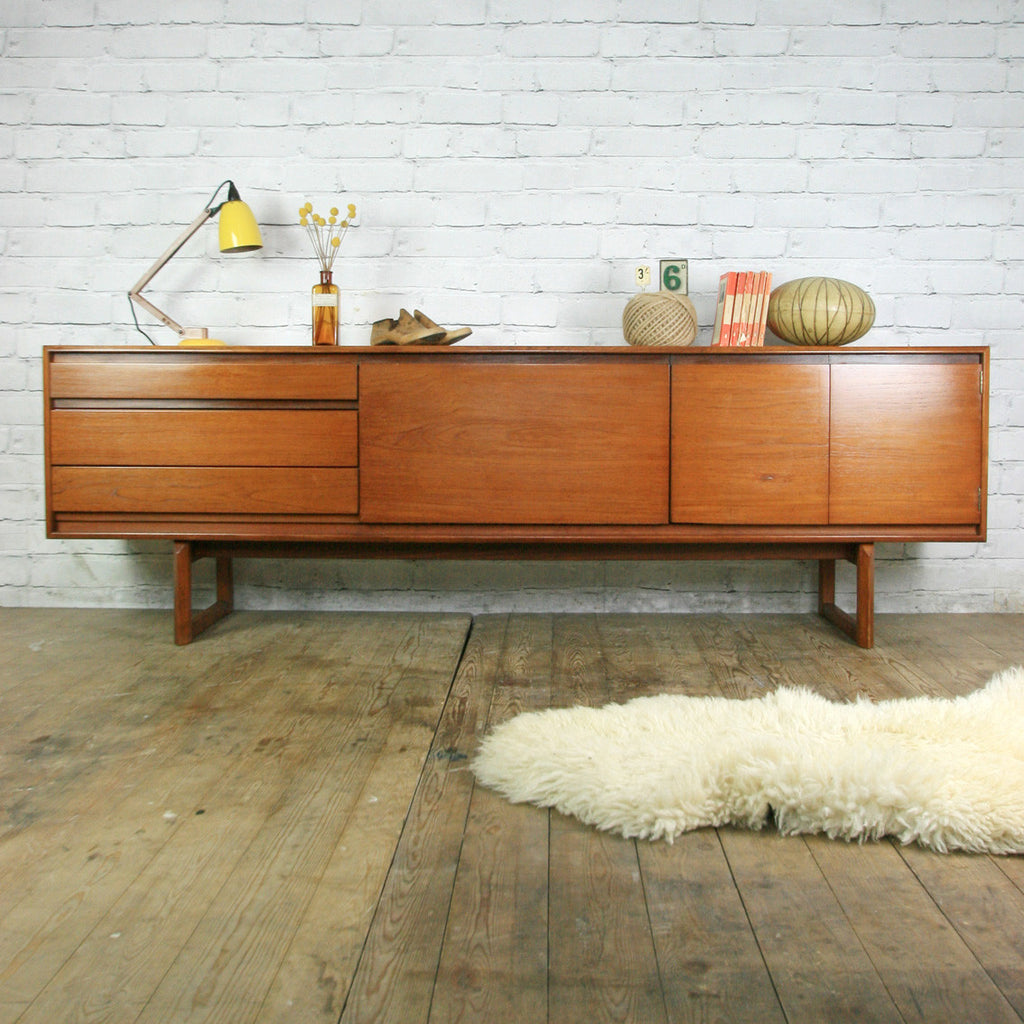 vintage 1960s white newton teak sideboard mustard vintage. Black Bedroom Furniture Sets. Home Design Ideas