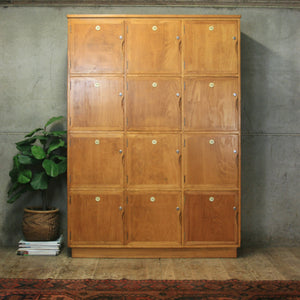 Vintage School Gym Wooden Lockers - 0707c