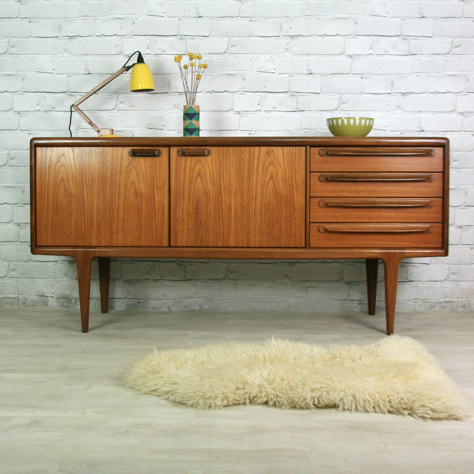 vintage 1960s younger teak sideboard mustard vintage. Black Bedroom Furniture Sets. Home Design Ideas