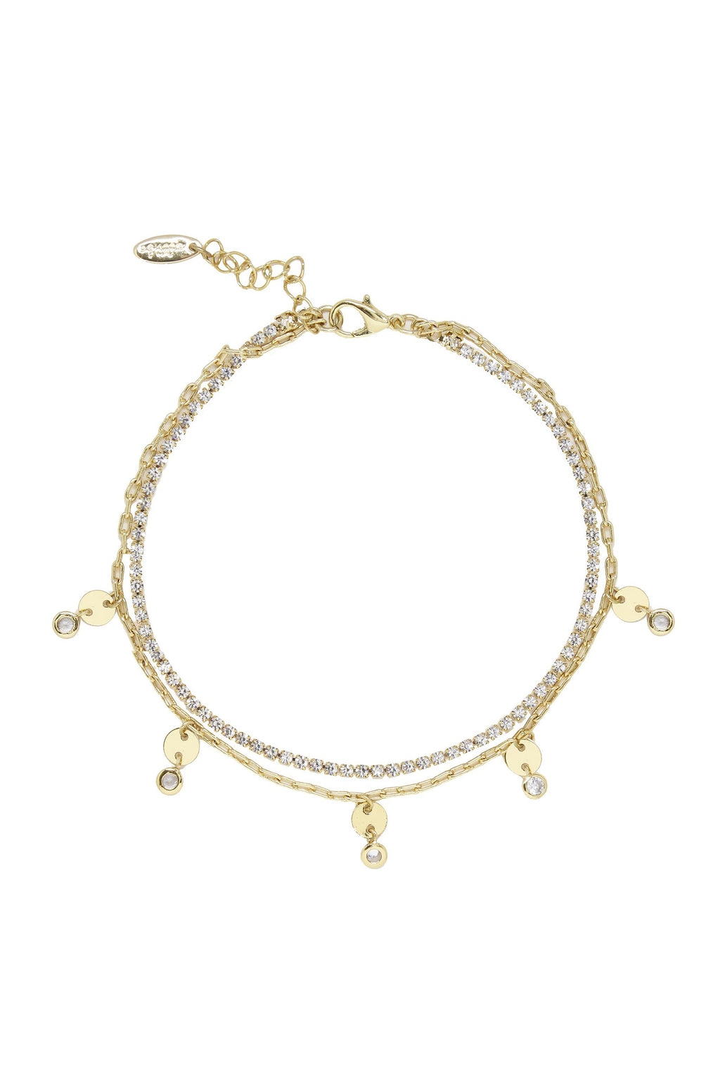 'Giovanna' Layered Crystal Anklet