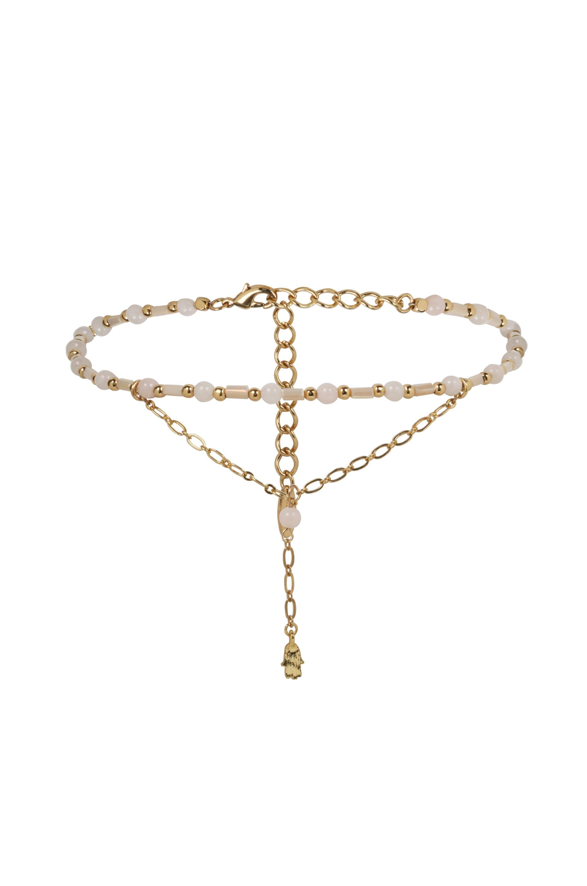 'Love Me' Lariat in Pink & Gold with Hamsa