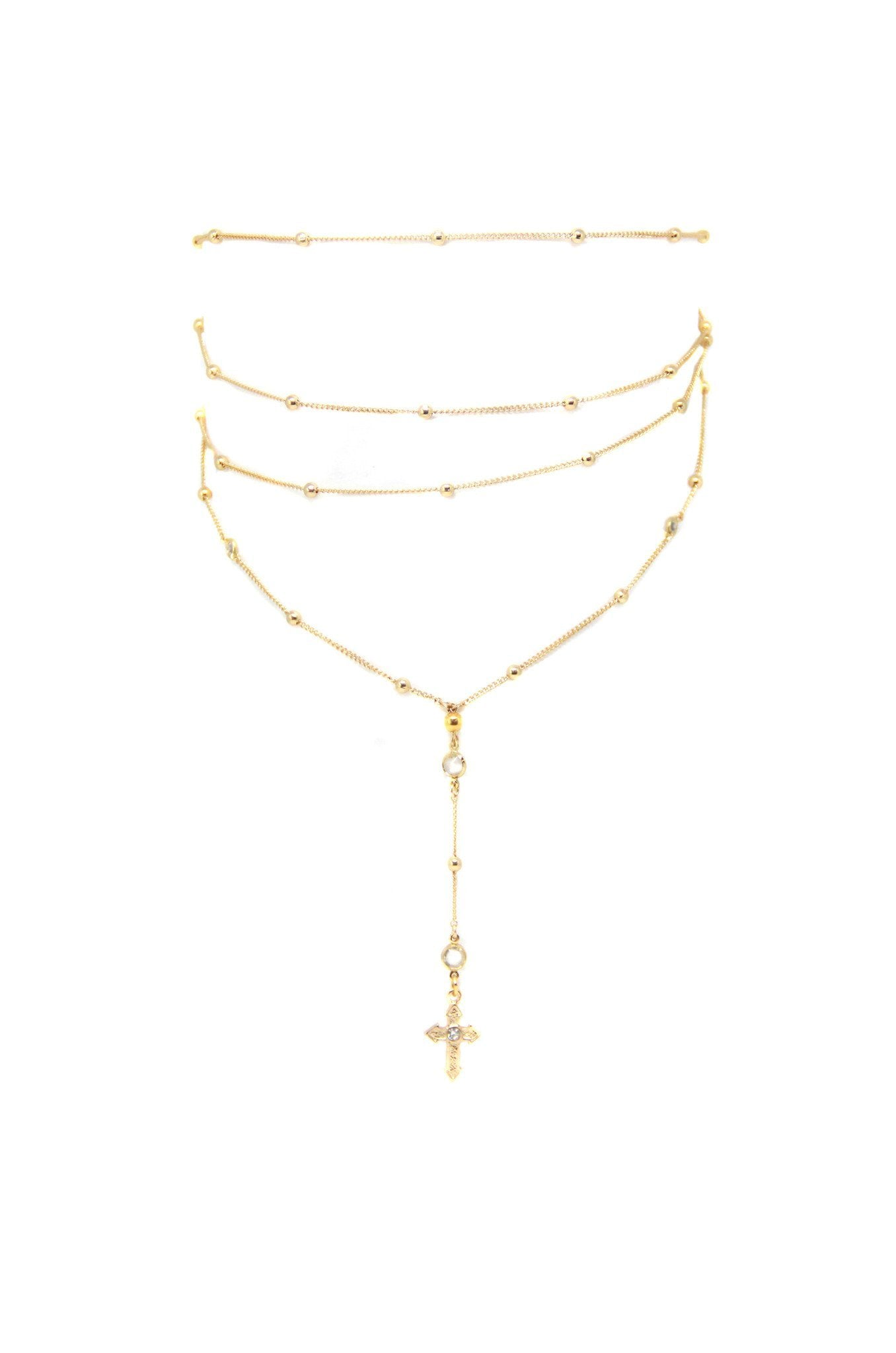18kt Gold Plated Layered Cross Lariat Choker