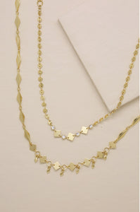 2pc Mixed Shape & Crystal Choker Necklace Set