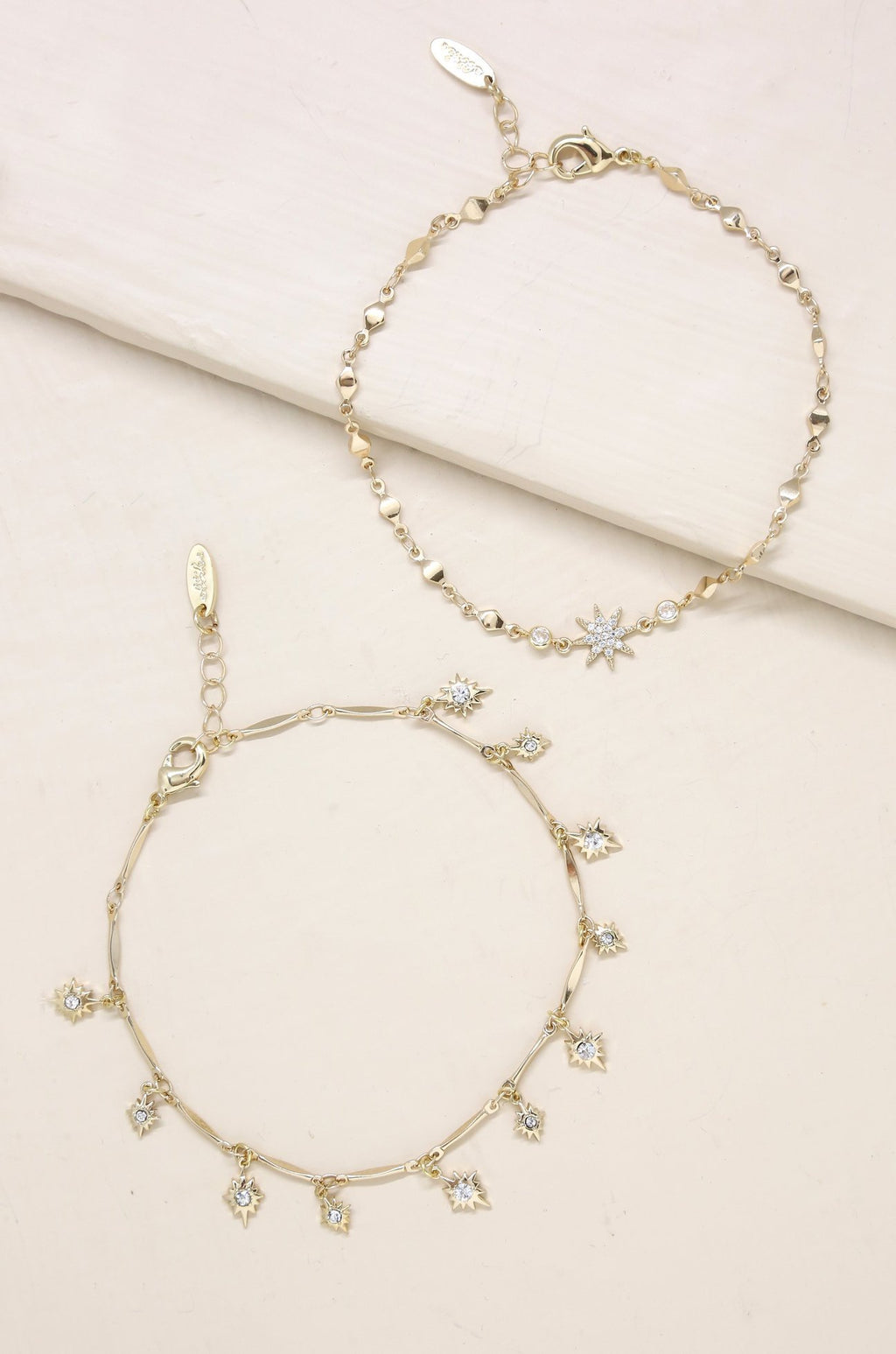 Crystal Starburst Anklet Set