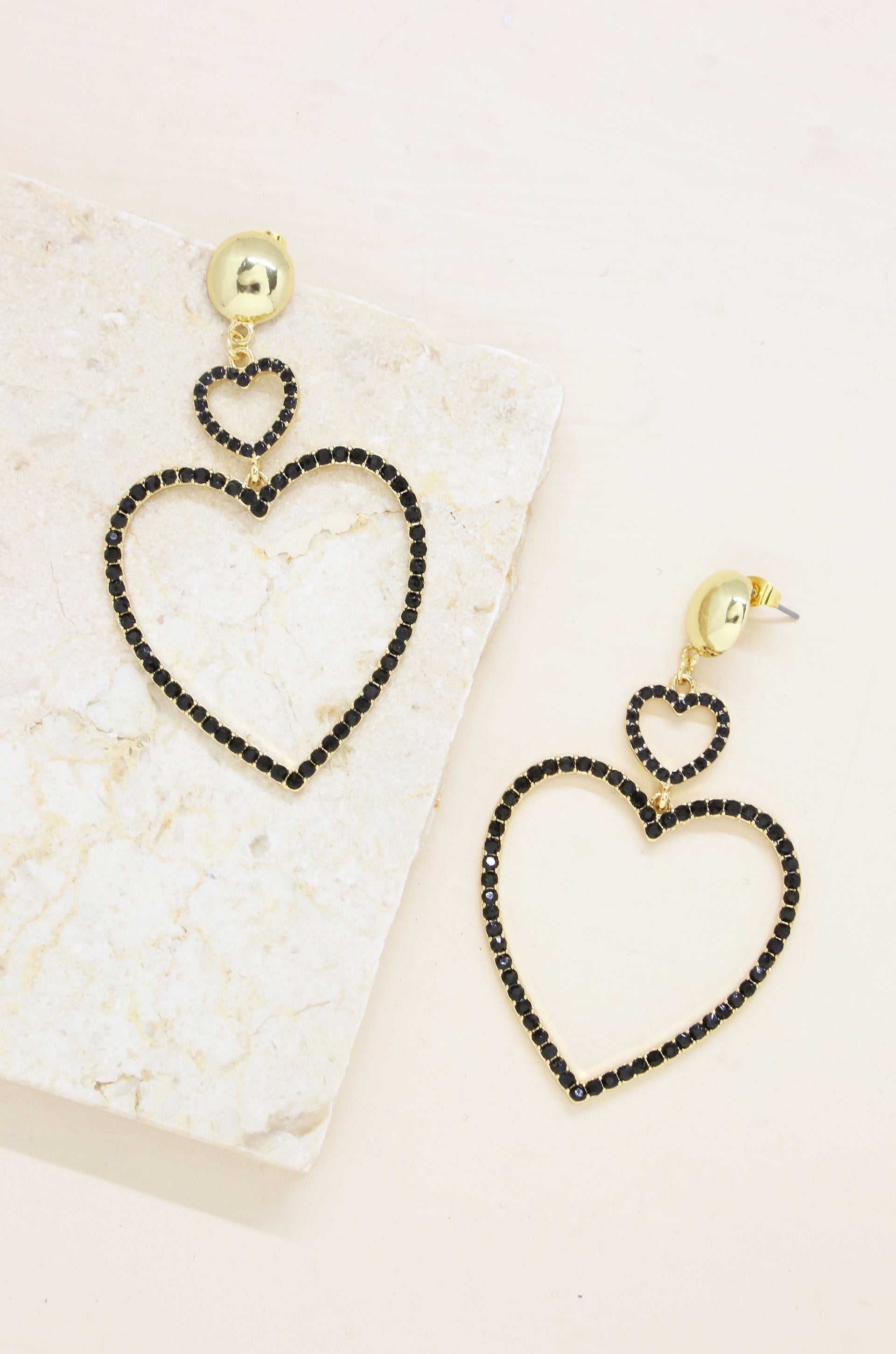 Double Crystal Heart Earrings