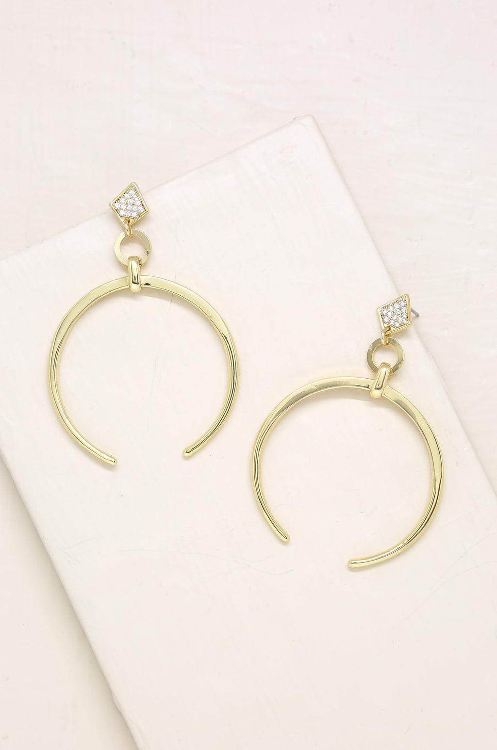 18kt Gold Plated Crescent Drop Earrings