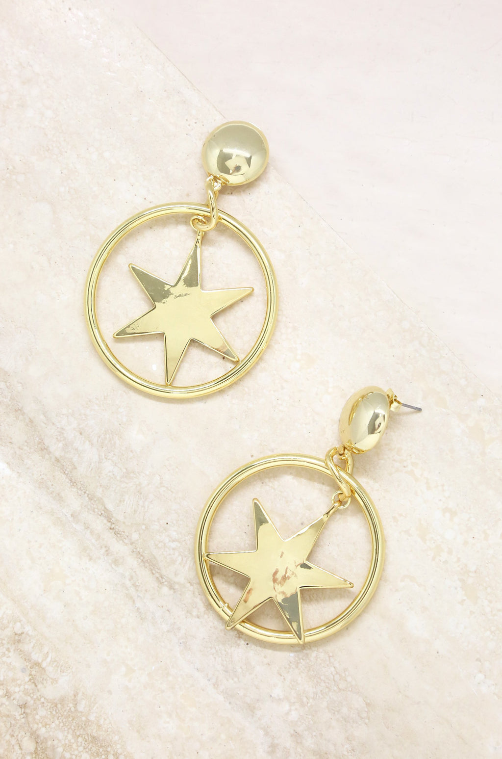 'Dramatic Star Hoops' 18kt Gold Plated Earrings