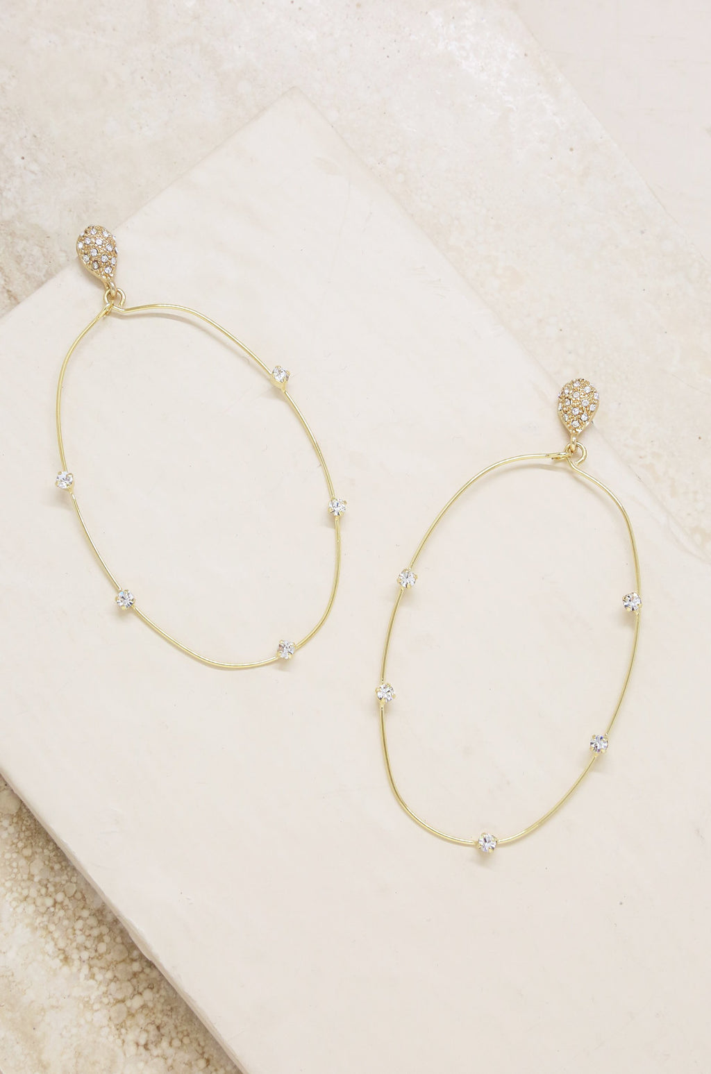 Delicate Gold & Crystal Large Oval Hoop Earrings