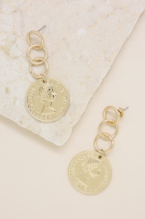 'Coin Stopper' 18kt Gold Plated Earrings