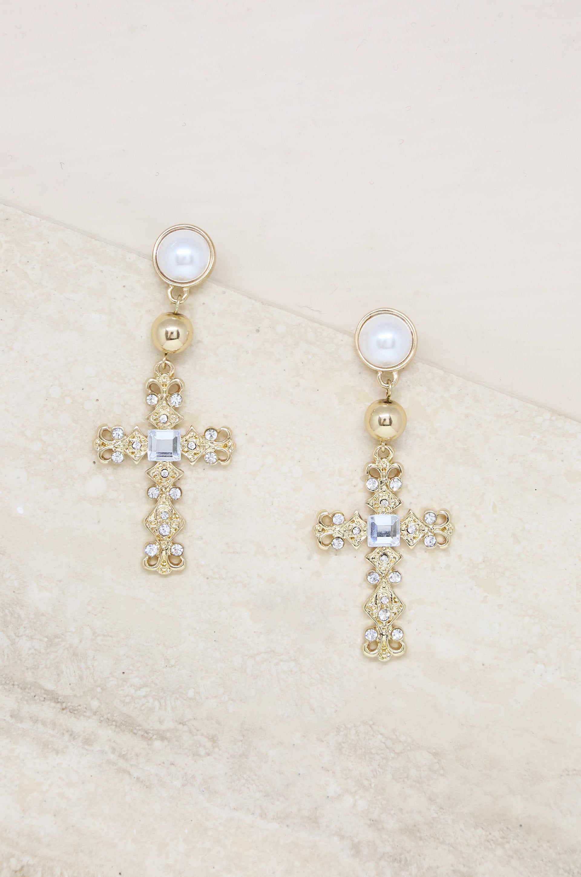 Ornate Cross Crystal Drop Earrings