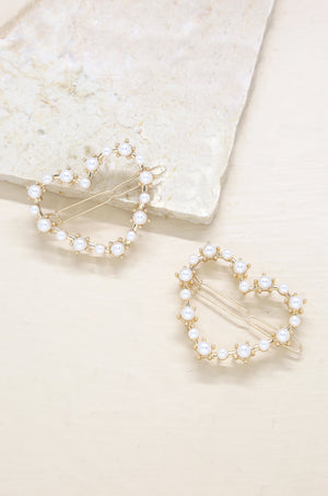 2pc Pearl Heart Gold Hair Clip Set
