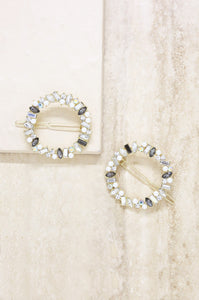 Set of 2 Large Crystal Donut Hair Barrette