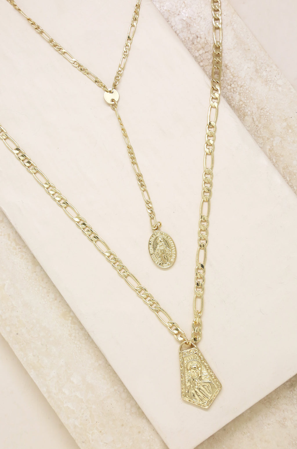 2pc 'Ancient Feelings' Layered 18kt Gold Necklace
