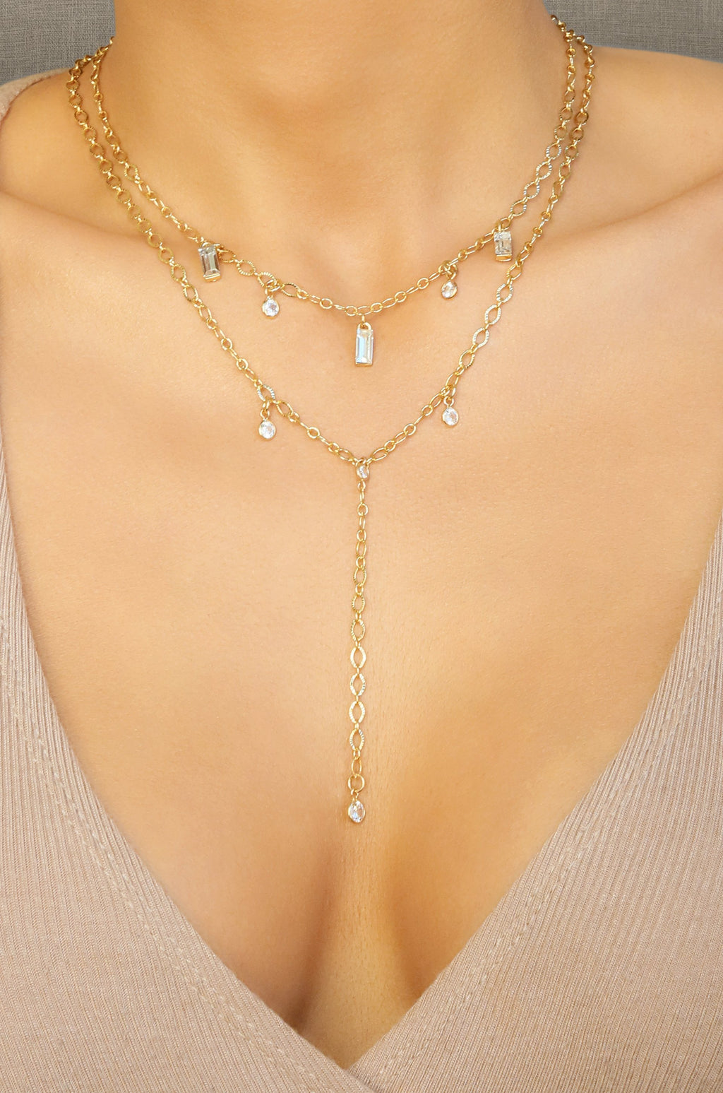 'VIP' 18kt Gold Plated Layered Necklace Set