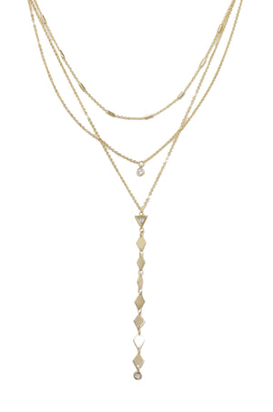 'Bella' 18kt Gold Plated Layered Lariat Necklace