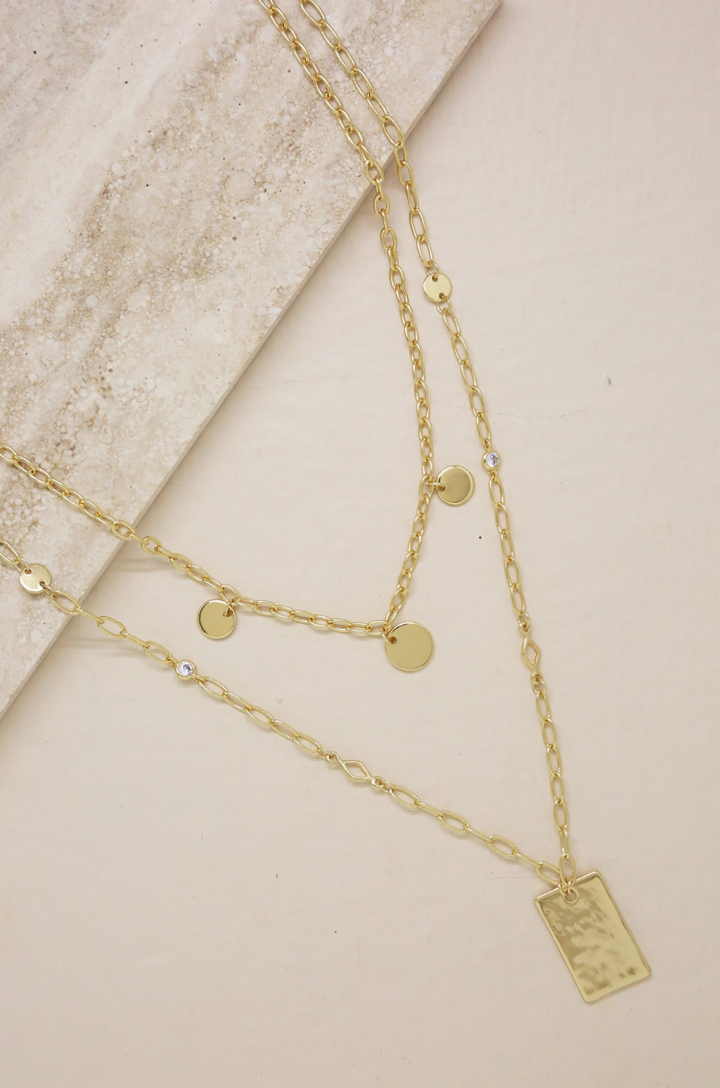 Delicate Layers Disc and Square Plate Charm 18kt Gold Necklace