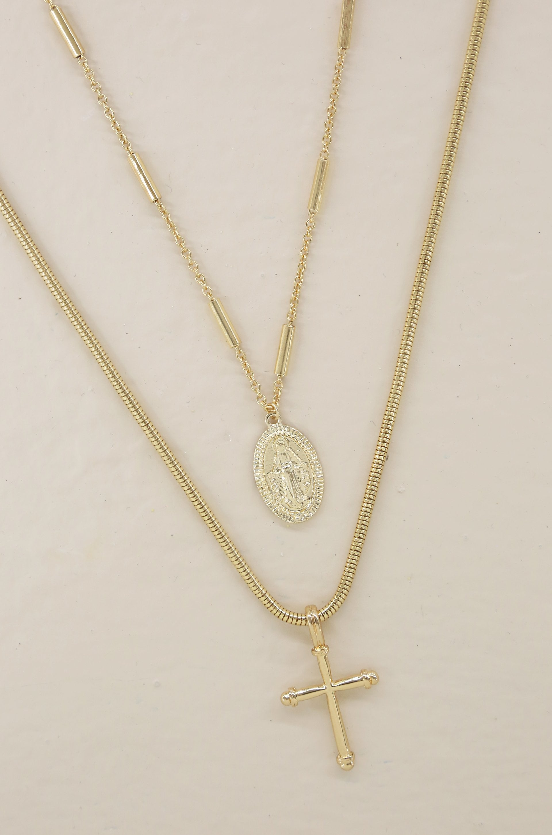 'Like a Prayer' 18kt Gold Layered Cross and Coin Necklace