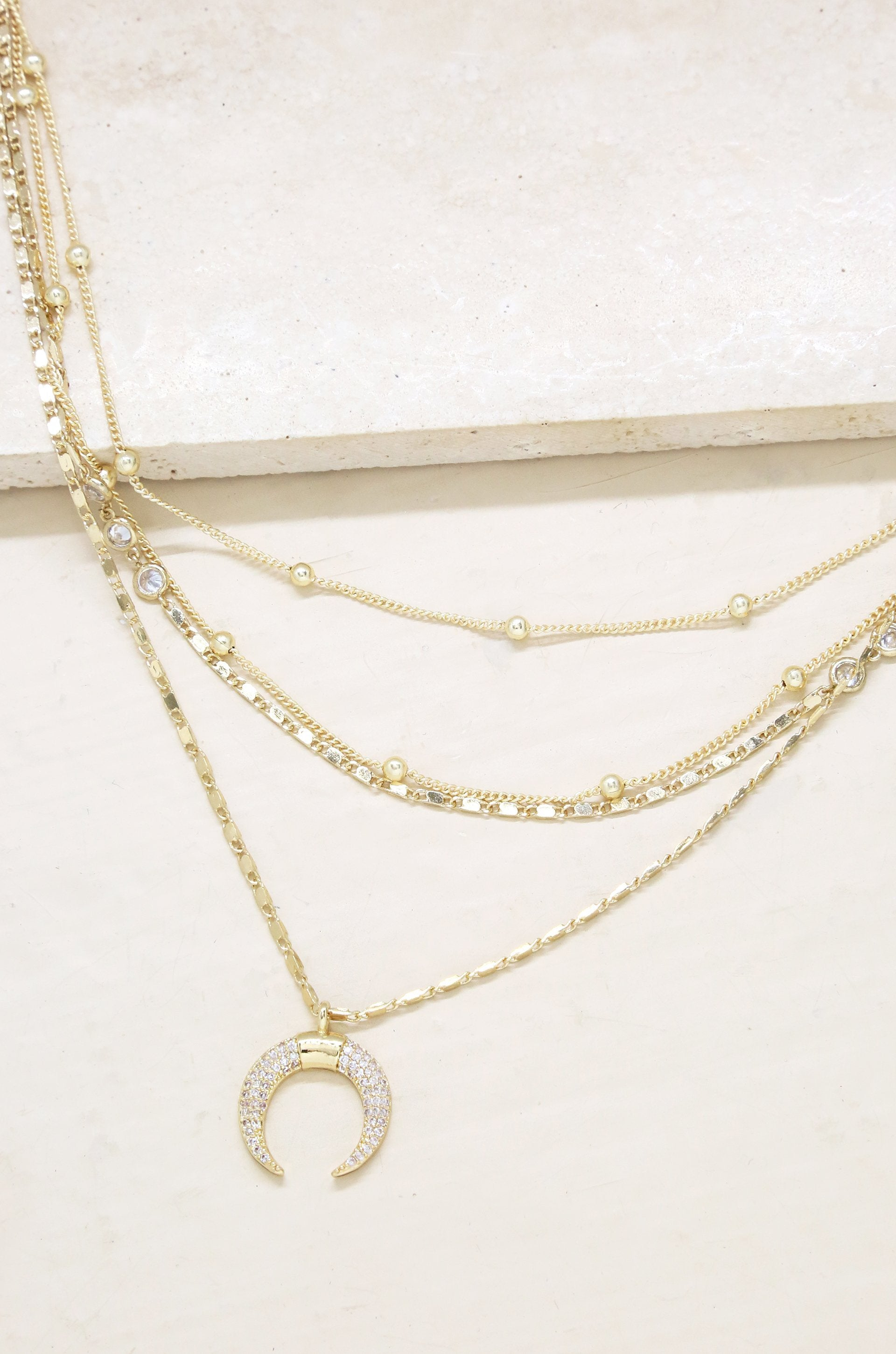 Layered Gold Chain & Crescent Horn Necklace