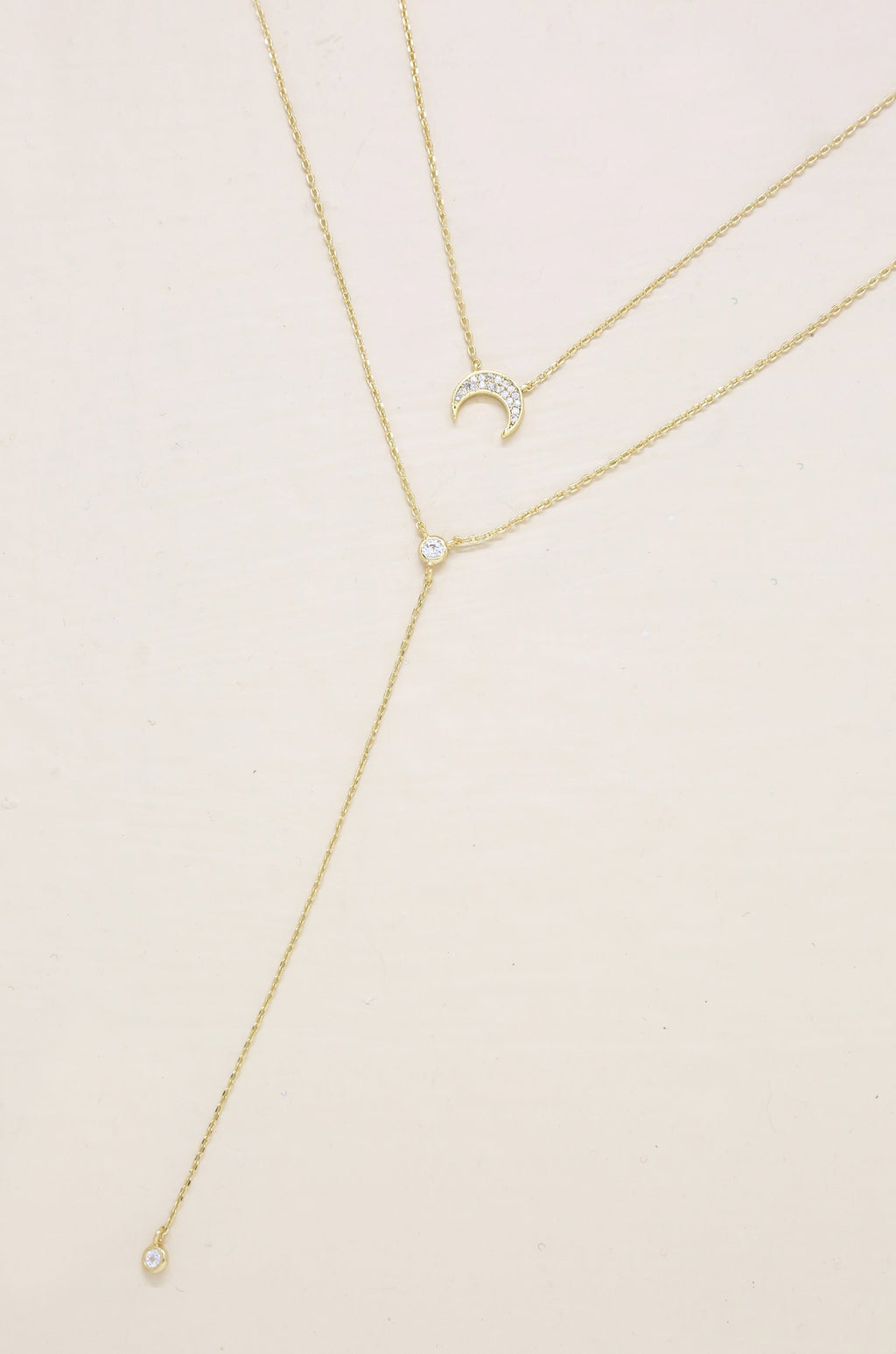 2pc Dainty Layered 'Crescent Moon' Necklace Set