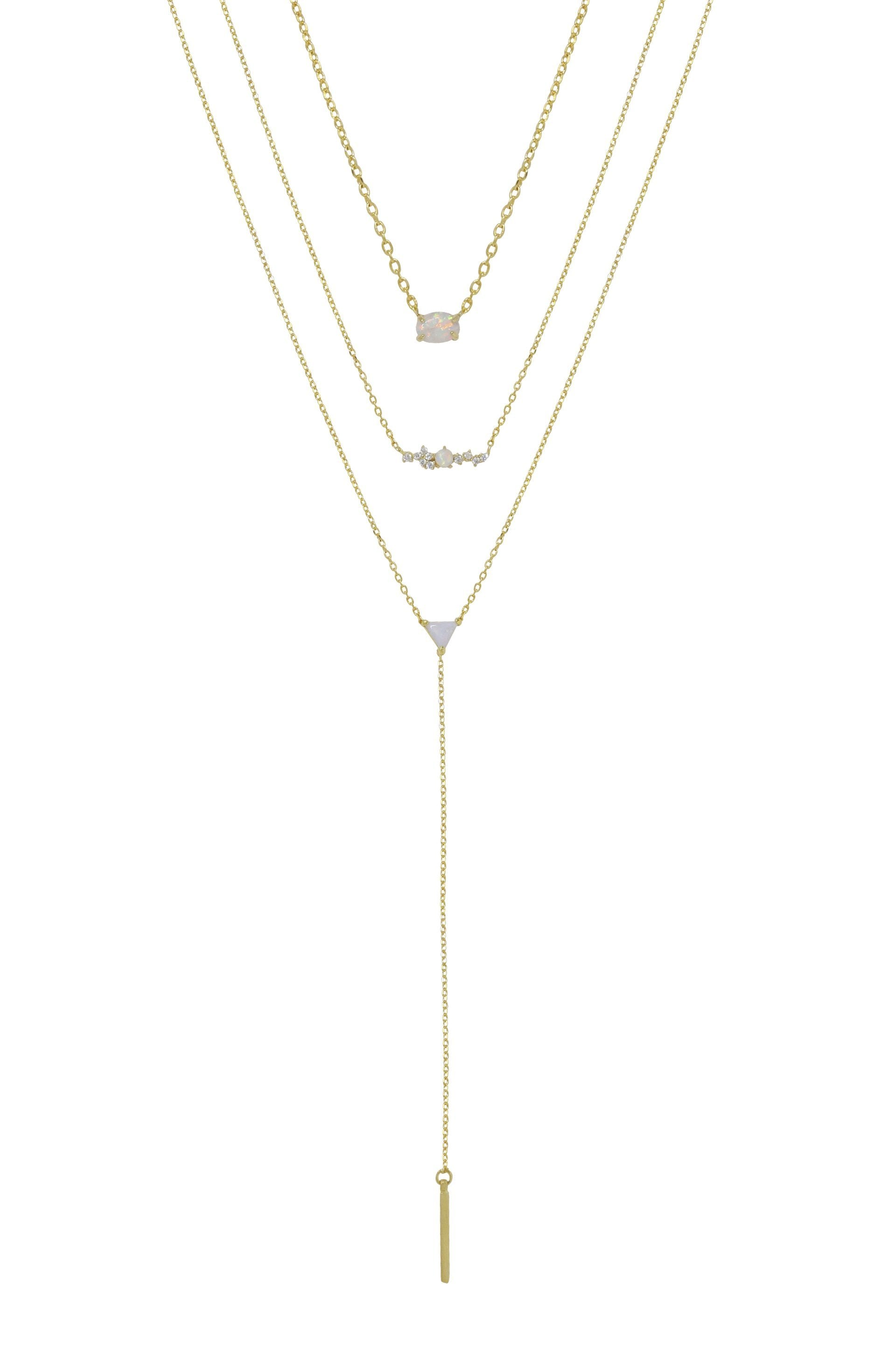 3 pc Layered Opal 18kt Gold Plated Lariat Necklace