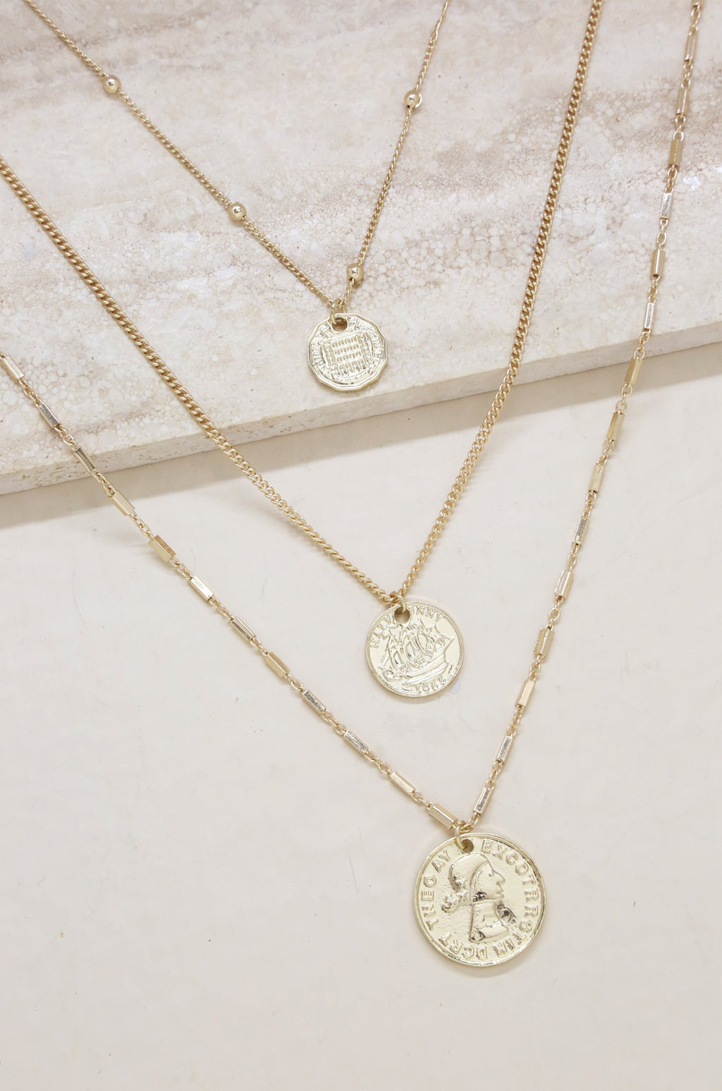 3pc 'Lucky Coin' Necklace Set