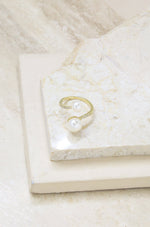 Adjustable Pearl & Crystal Wrap Ring in Gold