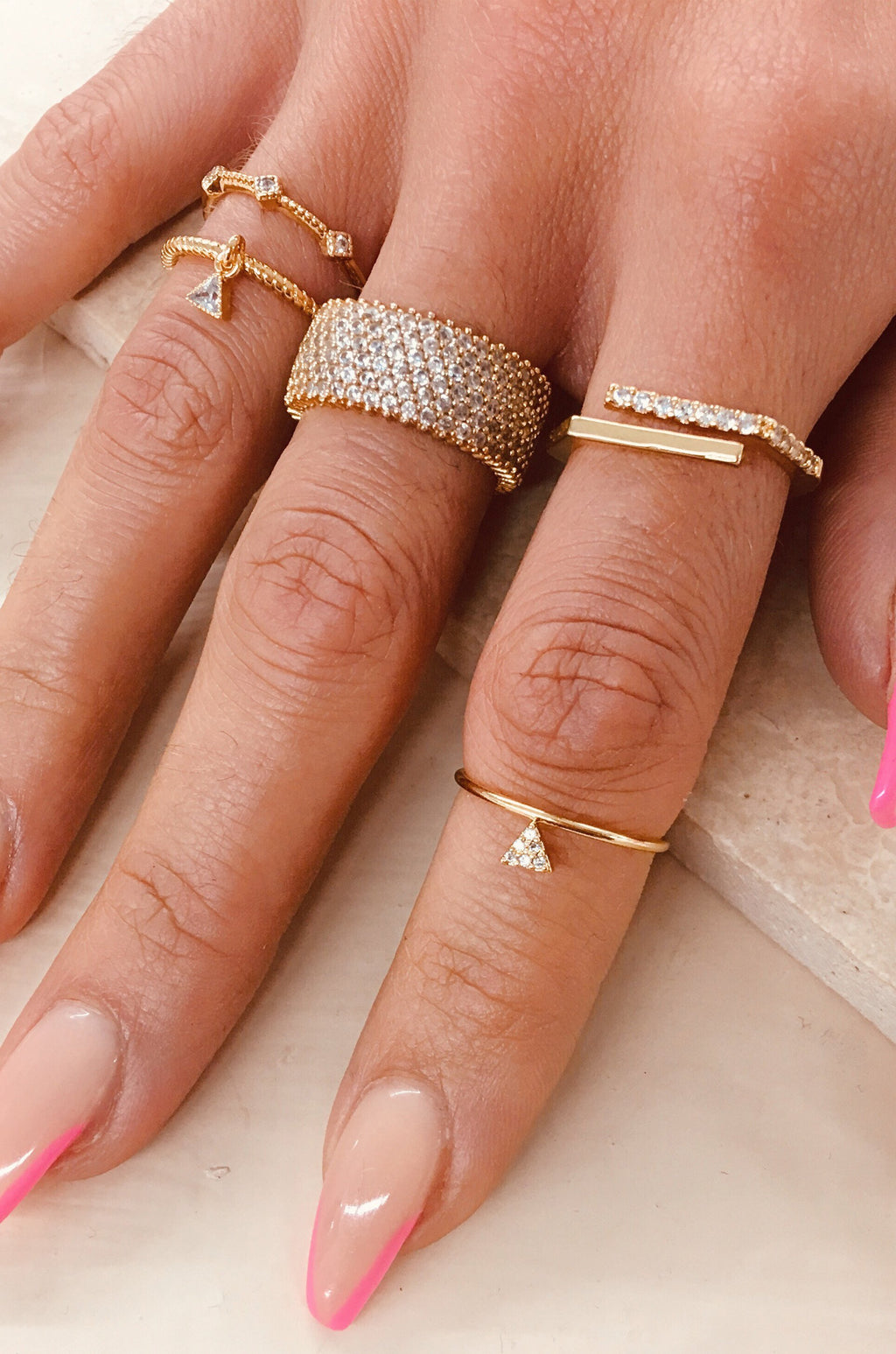 Set of 3 Geometric Dainty Stackable Ring Set