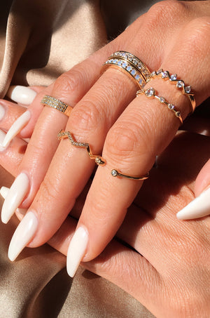 Set of 2 Pave 'Zig Zag' Ring Set