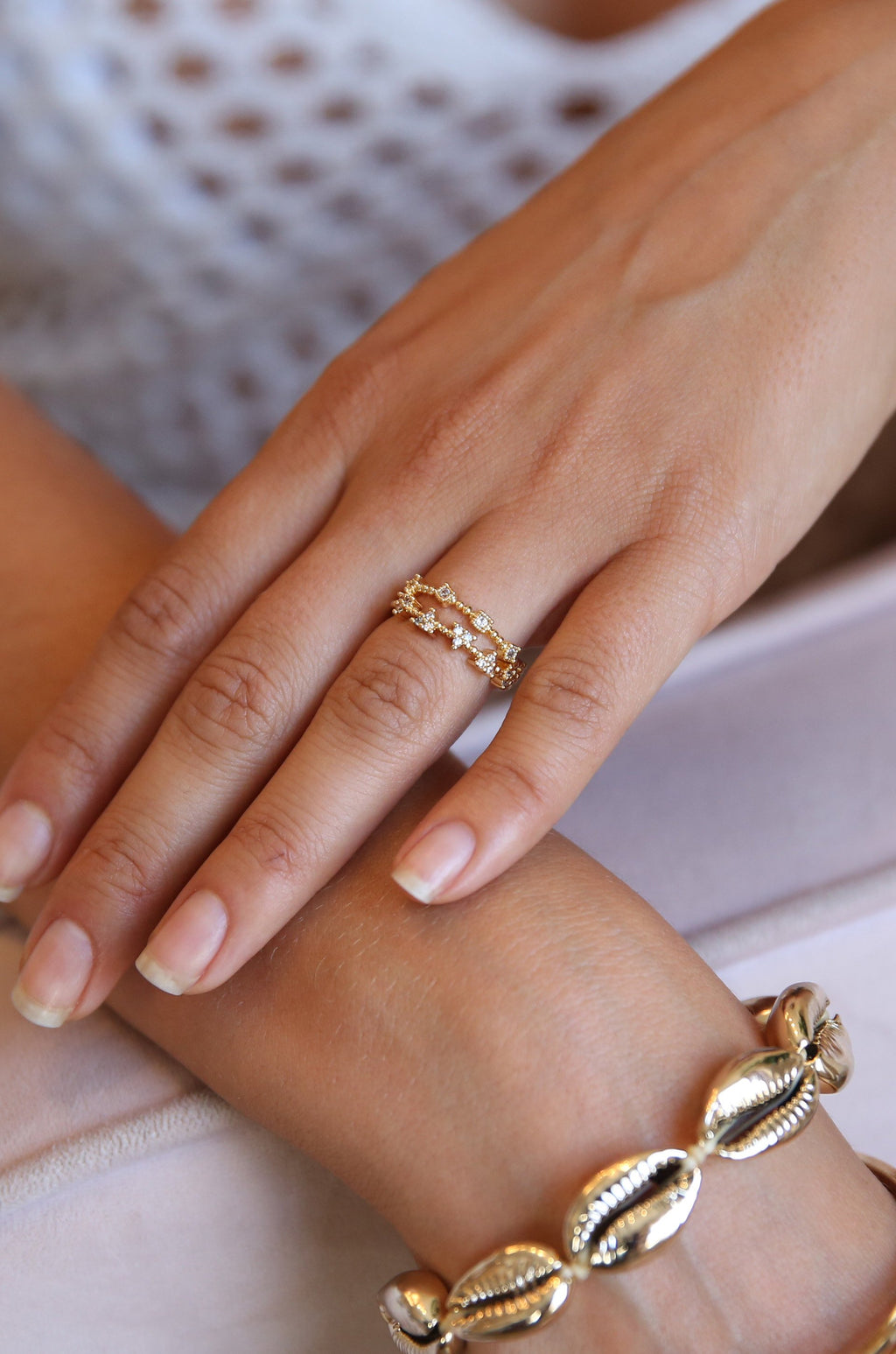 2pc 'Stardom' 18kt Gold Plated Stack Ring Set
