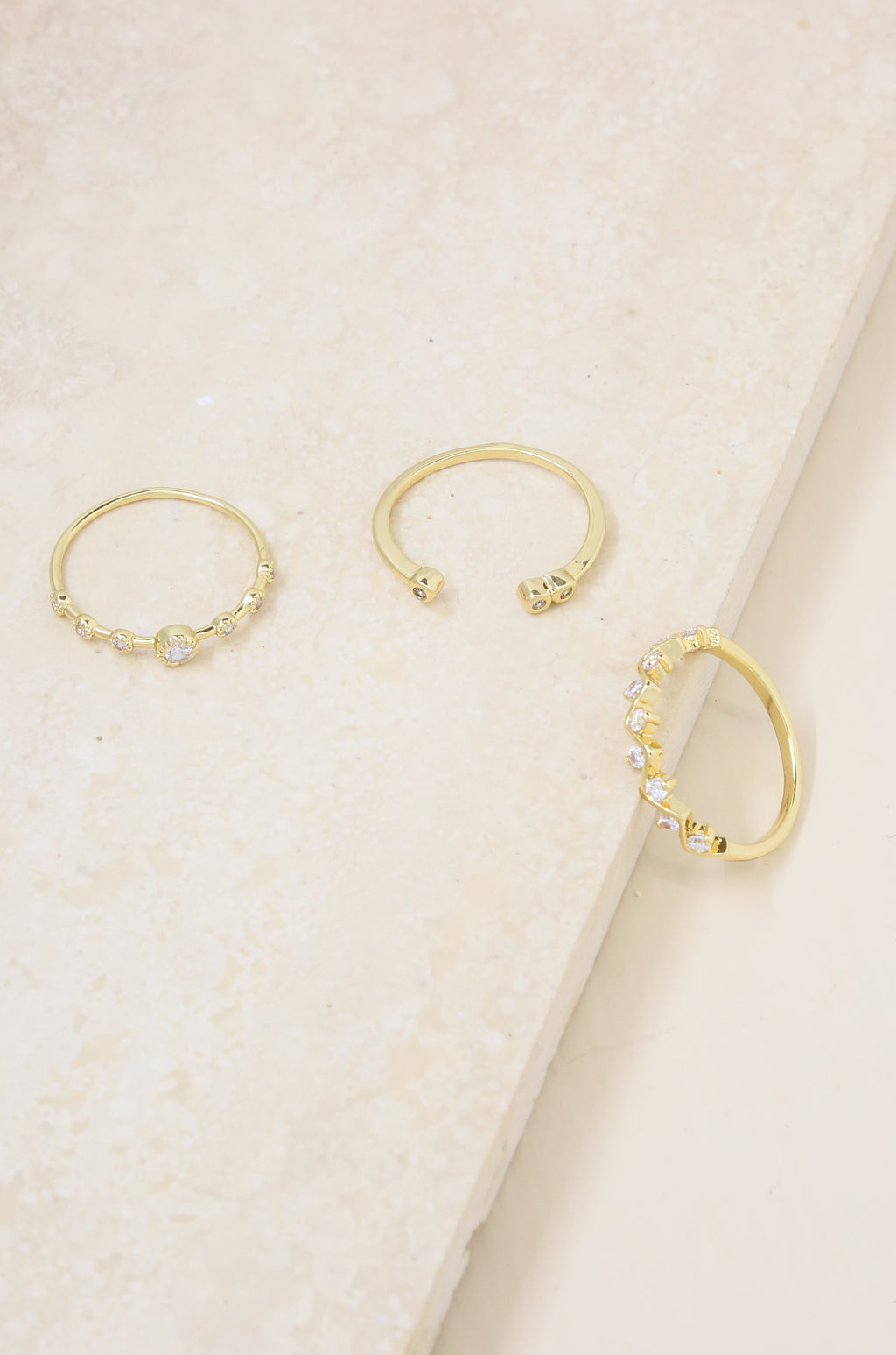 Set of 3 Delicate Shine Ring Set