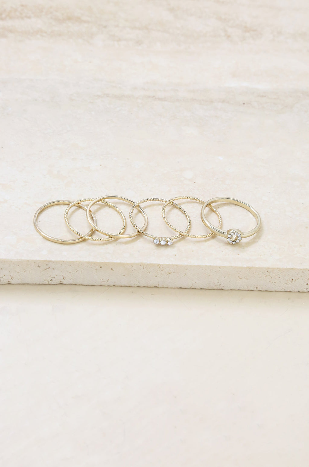 Set of 6 Dainty Gold Stacking Ring Set